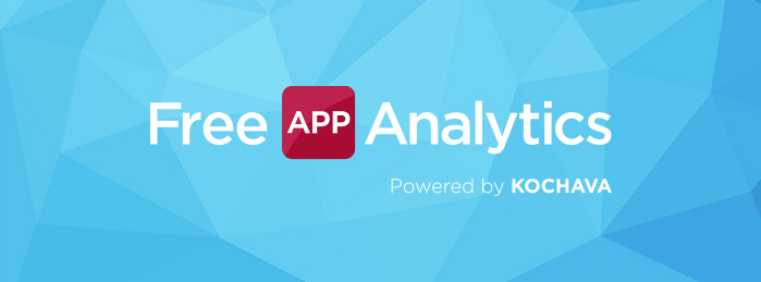 Free App Analytics Powered by Kochava logo.